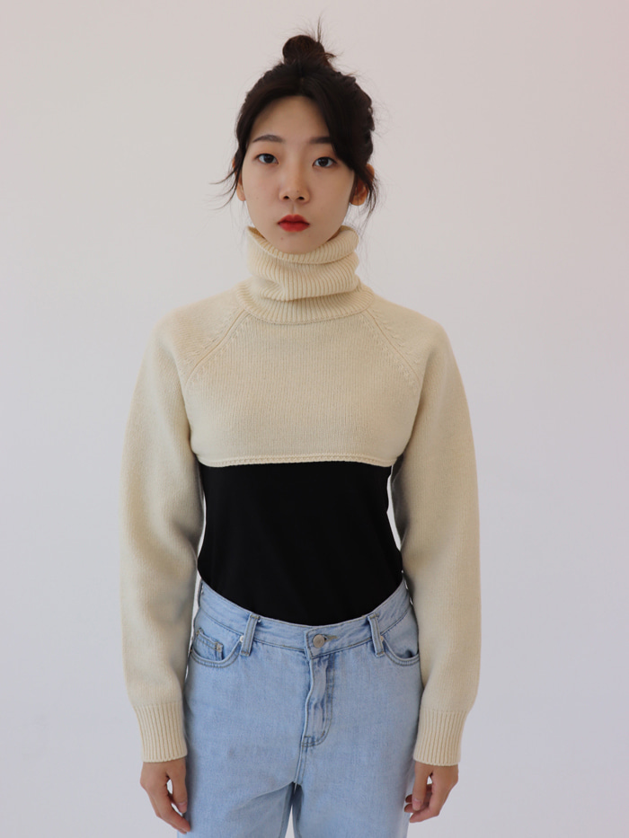 Cropped Turtle Neck Knit Top (charcoal)
