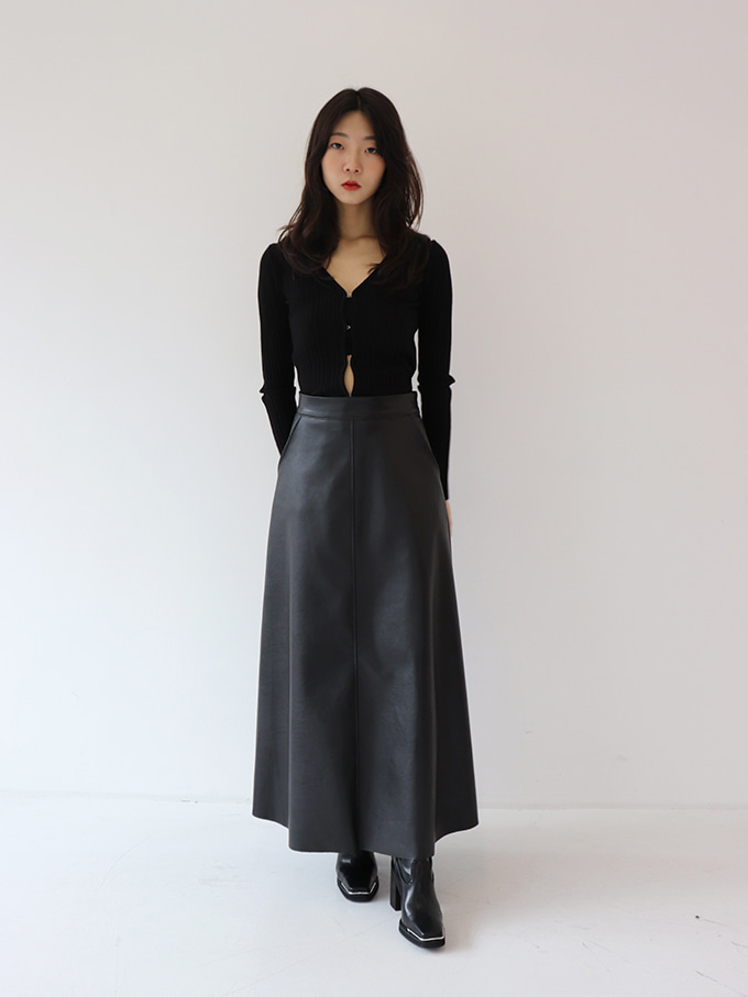 Fake Leather Maxi Skirt (2 colors)