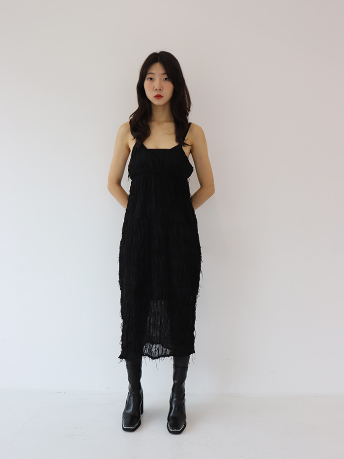 FRINGE SLIP DRESS(2COLOR)