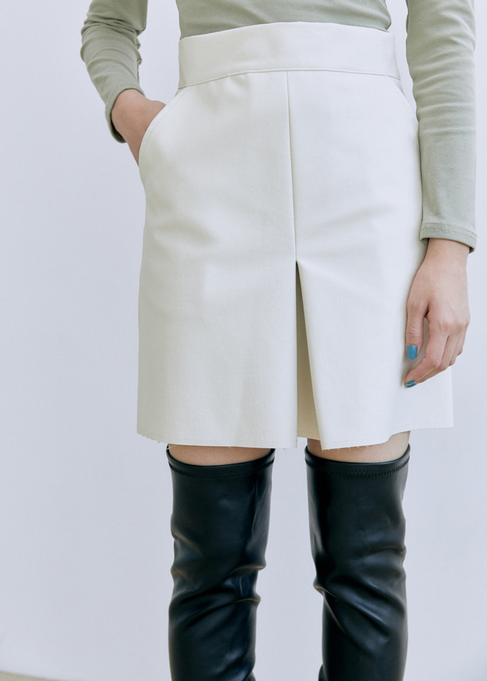 Faux Leather Mid Skirt(2color)