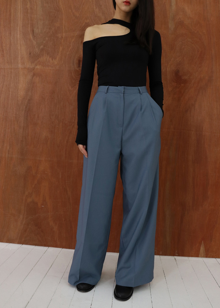 Wide Pin-tuck Trousers (blue)