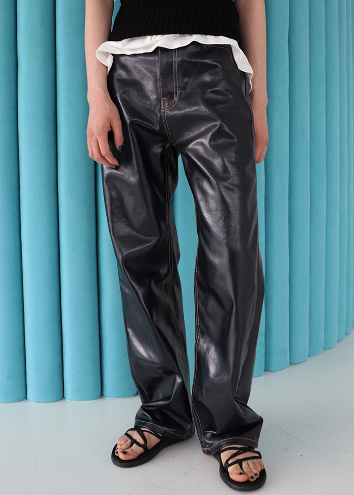 Coated Wide Pants