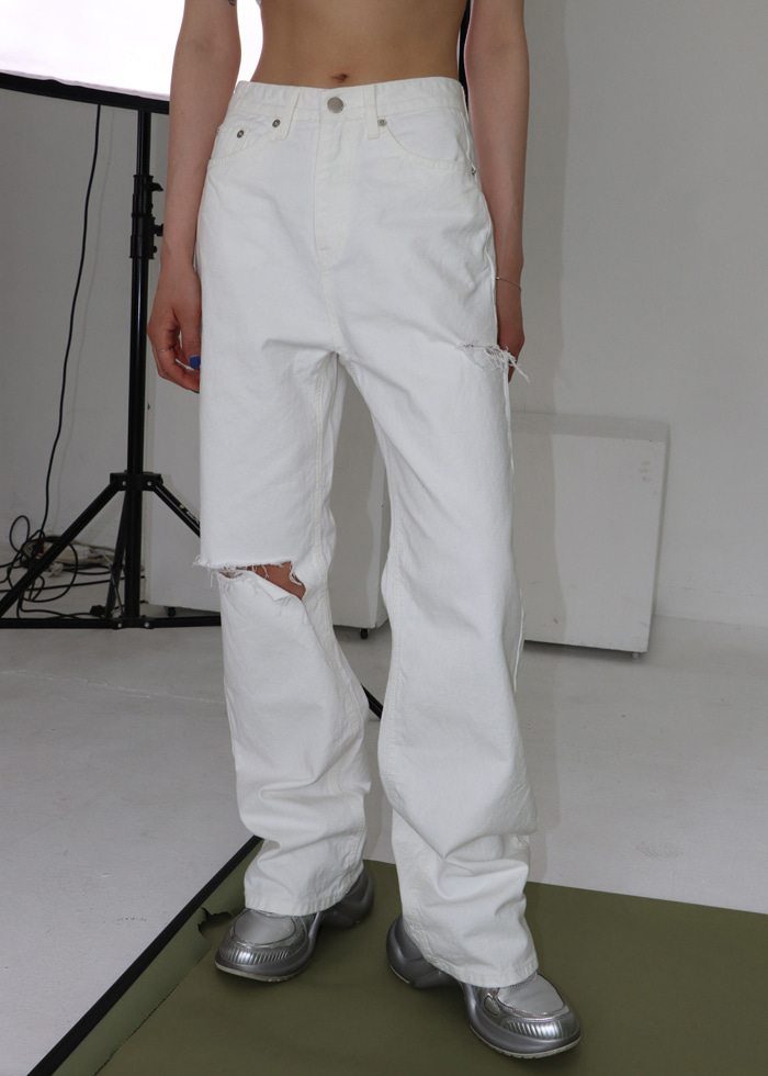Cutting White Long Pants