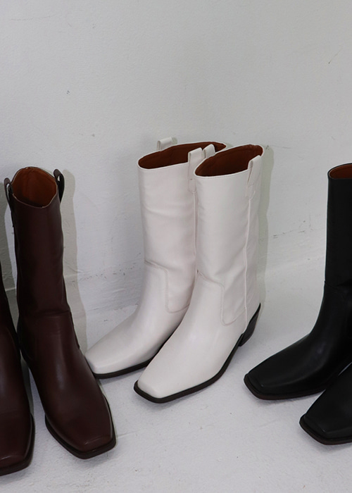 Square Western Boots(3colors)