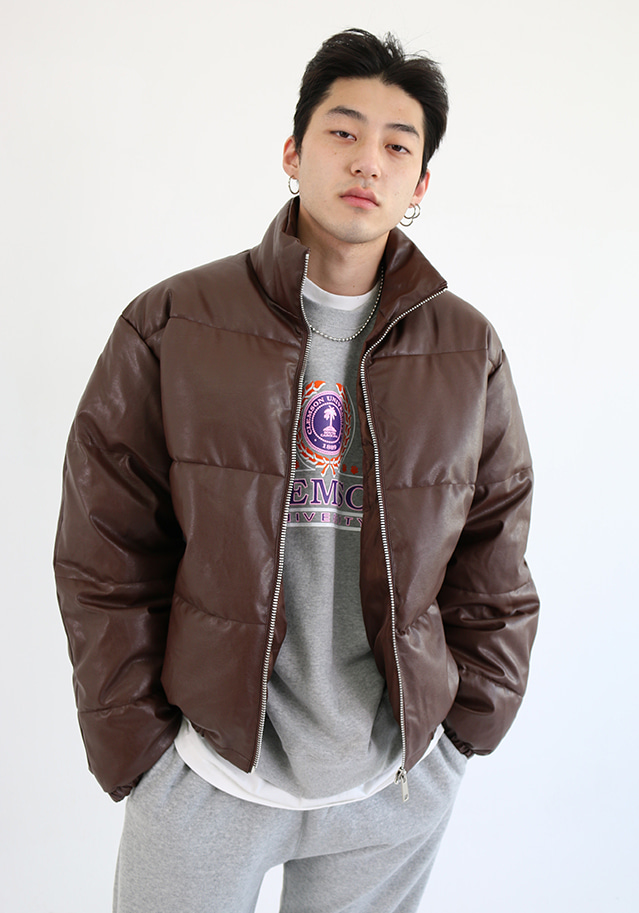 Benjamins Leather Puffer Jacket (2 colors)