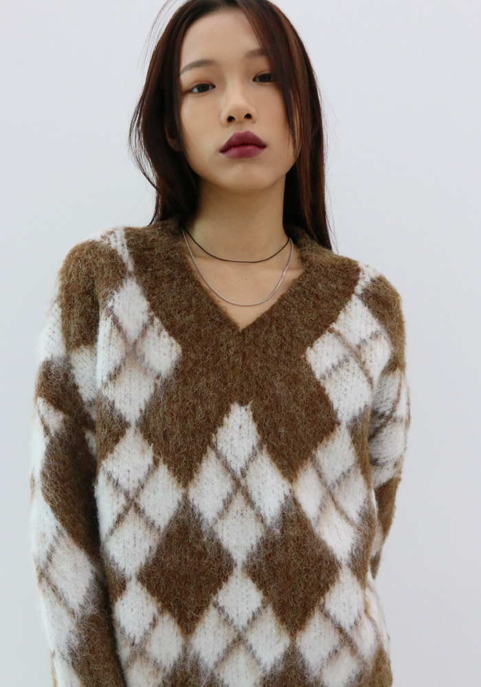 Argyle Wool Knitwear (3 colors)