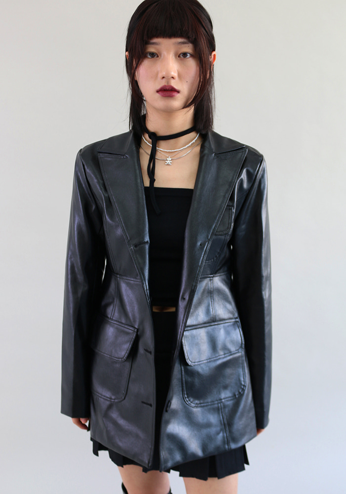 Flip Poket Leather Jacket