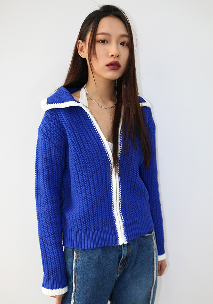 Blue Zipper Sweater