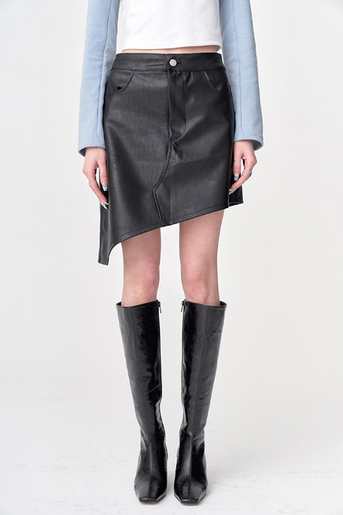 Slash Leather Skirt Black